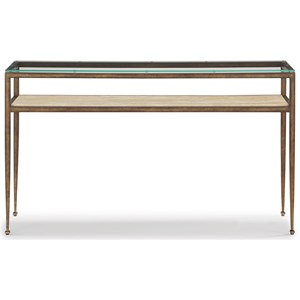 Transitional Sofa Table with Glass Top