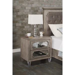 Transitional 2-Drawer Nightstand with Outlets and USB Ports