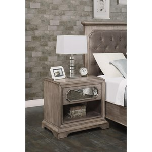 Transitional Nightstand with Outlets and USB Ports