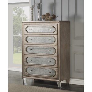 Transitional 5-Drawer Chest with Cedar and Felt Lined Drawers