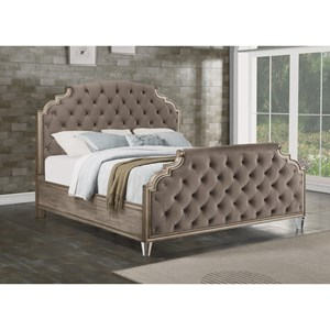 Transitional Queen Upholstered Bed with Gem Tufting