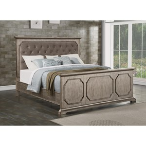 Transitional King Panel Upholstered Bed with Gem Tufting