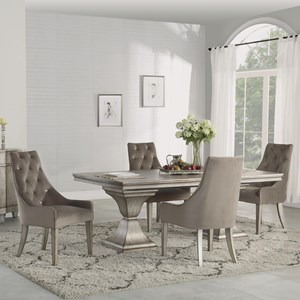 5-Piece Rectangular Dining Set with Removable Leaf