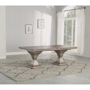 Transitional Rectangular Pedestal Table with Removable Leaf
