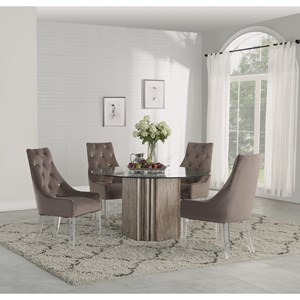 5-Piece Round Dining Set with Glass Table Top
