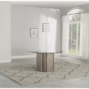 Transitional Round Pedestal Table with Glass Top