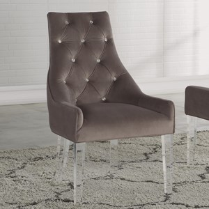 Transitional Upholstered Arm Chair with Acrylic Legs