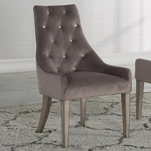 Transitional Upholstered Arm Chair with Wood Legs
