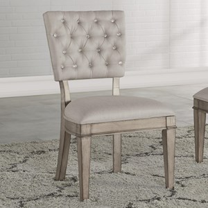 Transitional Side Chair with Upholstered Back and Seat