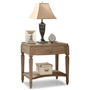Transitional Open Night Stand with USB Ports