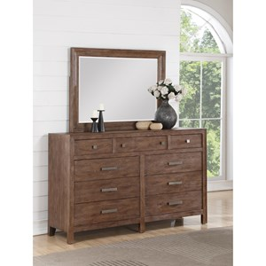 Rustic 9 Drawer Dresser and Mirror Set with Felt-Lined Top Drawers