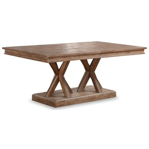 Rustic Rectangular Dining Room Table with 22 Inch Leaf