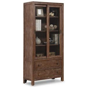 Rustic Sliding Door Bookcase with 3 Adjustable Shelves
