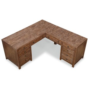 Rustic L-Shaped Desk with Keyboard Trays and Locking Drawers