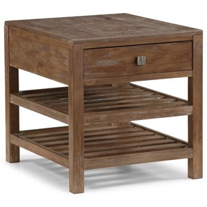 Rustic End Table with Slatted Shelves