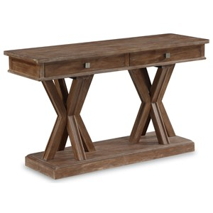 Rustic Sofa Table with 2 Drawers