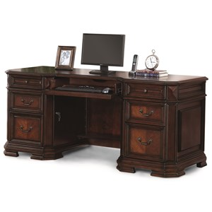 Traditional Executive Credenza with Built-In Power