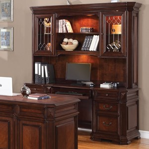 Traditional Desk and Hutch with Two Locking Doors