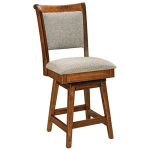 """Customizable Upholstered Solid Wood 24"""" Swivel Counter Stool"""