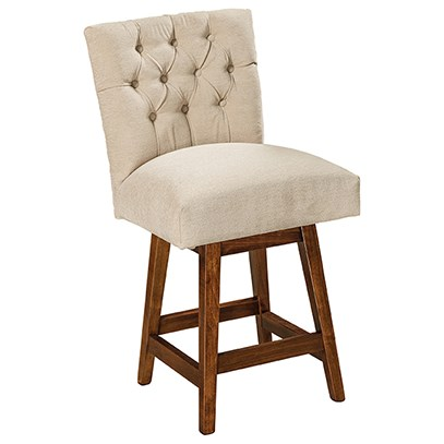 """Alana Customizable Solid Wood 24"""" Swivel Bar Stool by F&N Woodworking at Saugerties Furniture Mart"""