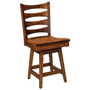"Customizable Solid Wood 24"" Swivel Bar Stool"