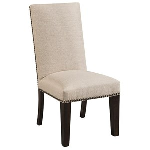 Customizable Solid Wood Dining Side Chair with Nailheads