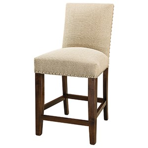 """Customizable 30"""" Solid Wood Bar Stool with Nailheads"""