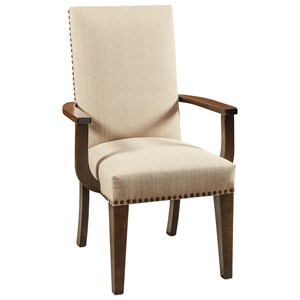 Customizable Solid Wood Dining Arm Chair with Nailheads