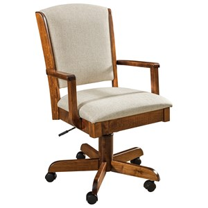 Customizable Solid Wood Swivel Desk Chair with Adjustable Seat Height