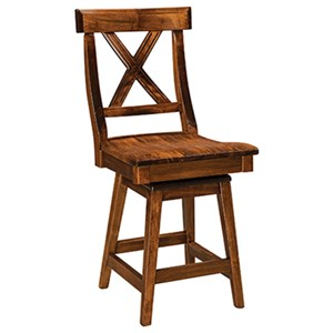 "Customizable 24"" Solid Wood Swivel Counter Stool"