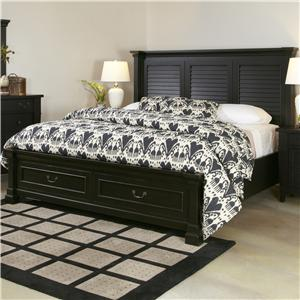 Queen Bed with Shutter Headboard and Storage Footboard