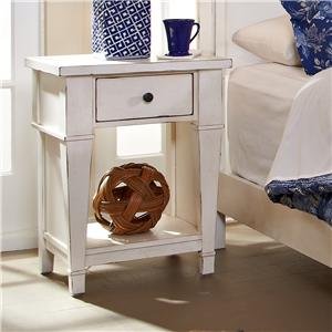 One Drawer Night Stand with Open Shelf