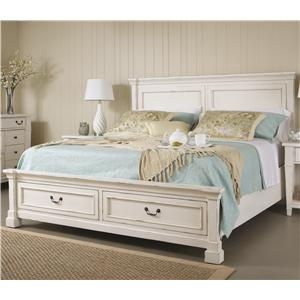 King Panel Bed w/ Storage Footboard