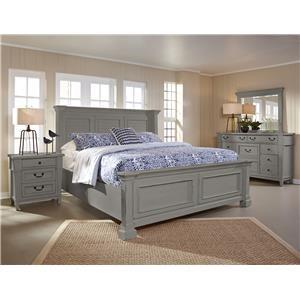 King  Shutter Panel Bed Dresser, Mirror,  3 DRW Nightstand