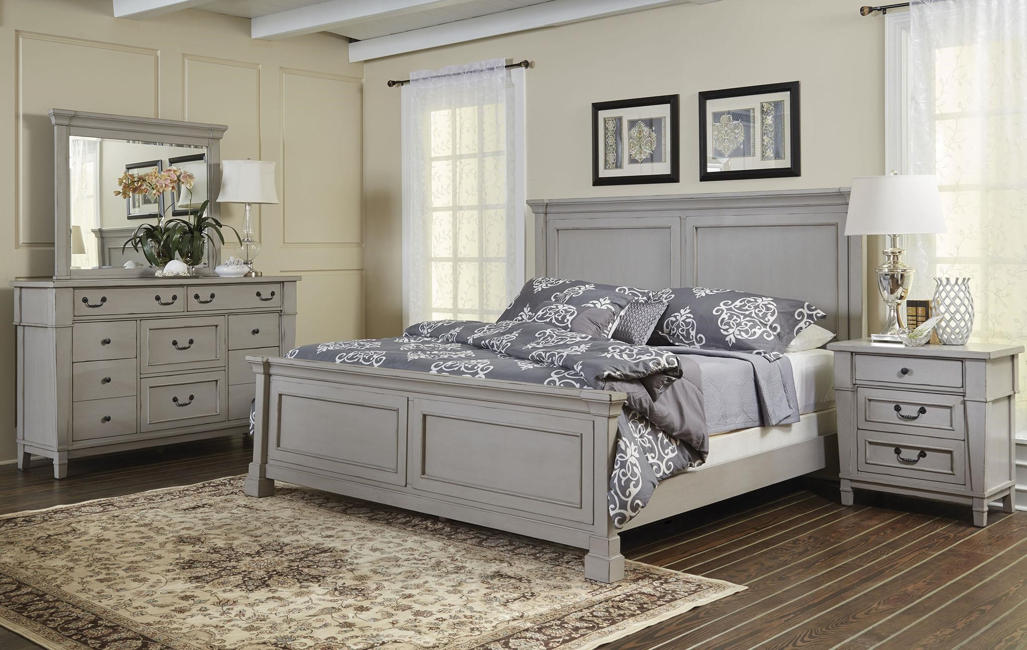 Queen Panel Bed Dresser, Mirror, 3 DWR Nightstand