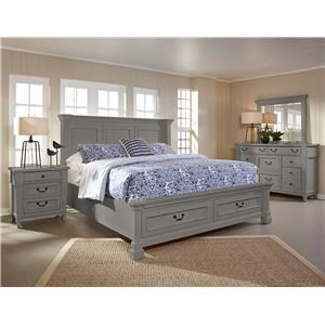 King  Shutter Storage Bed Dresser, Mirror, 3 DRW Nightstand