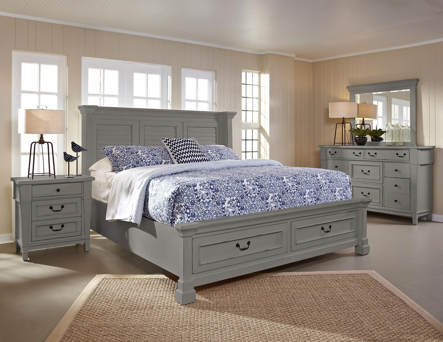Stone Harbor Queen Shutter Storage Bed by Folio 21 at Johnny Janosik