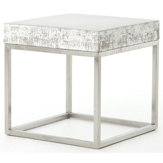 Constantine Concrete And Chrome End Table by Four Hands at Malouf Furniture Co.