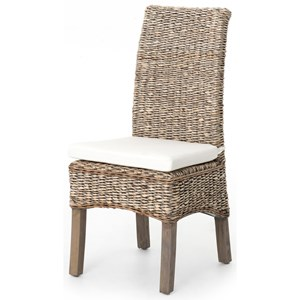 Woven Banana Leaf Side Chair with Canvas Cushion