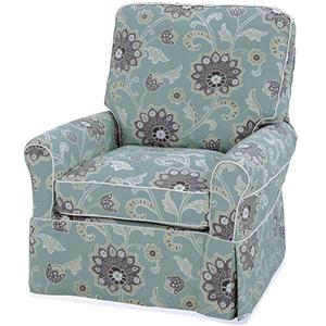 Transitional Extra Large Liza Swivel Glider Chair with Welting Detail