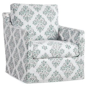 Slipcover Swivel Glider Chair with Track Arms