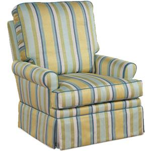 Transitional Aiden Fully Upholstered Swivel Glider Chair with Rolled Arms
