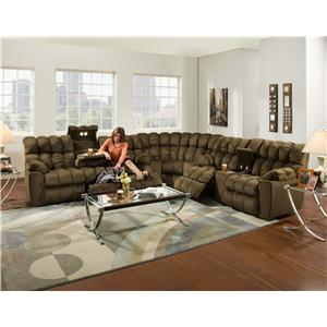 Casual Styled Reclining Sectional Sofa