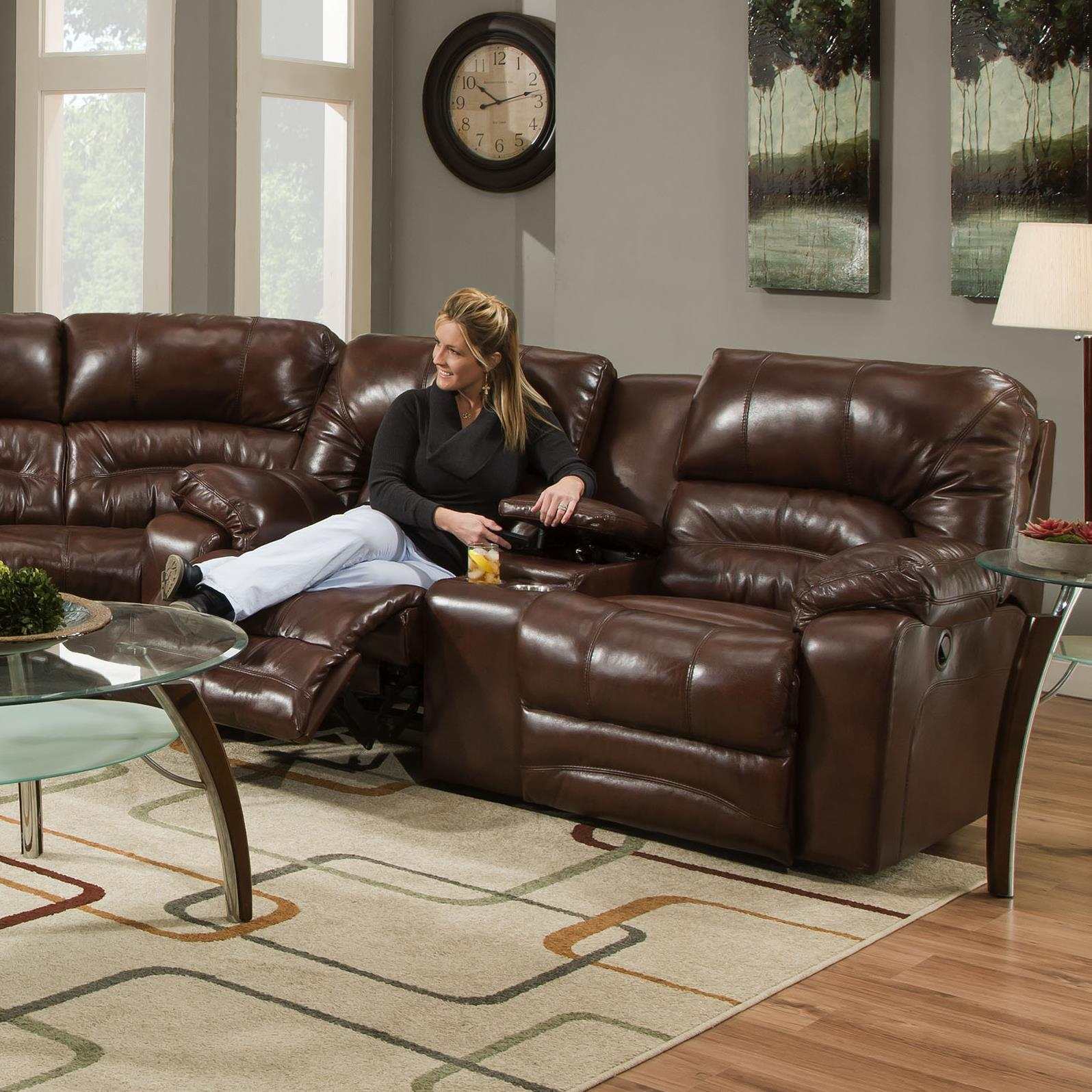 Legacy Power Reclining Console Loveseat by Franklin at Fine Home Furnishings