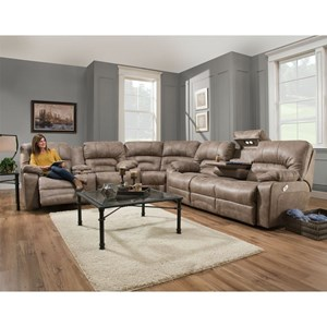 Reclining Sectional Sofa with Drop Table, Lights and Console