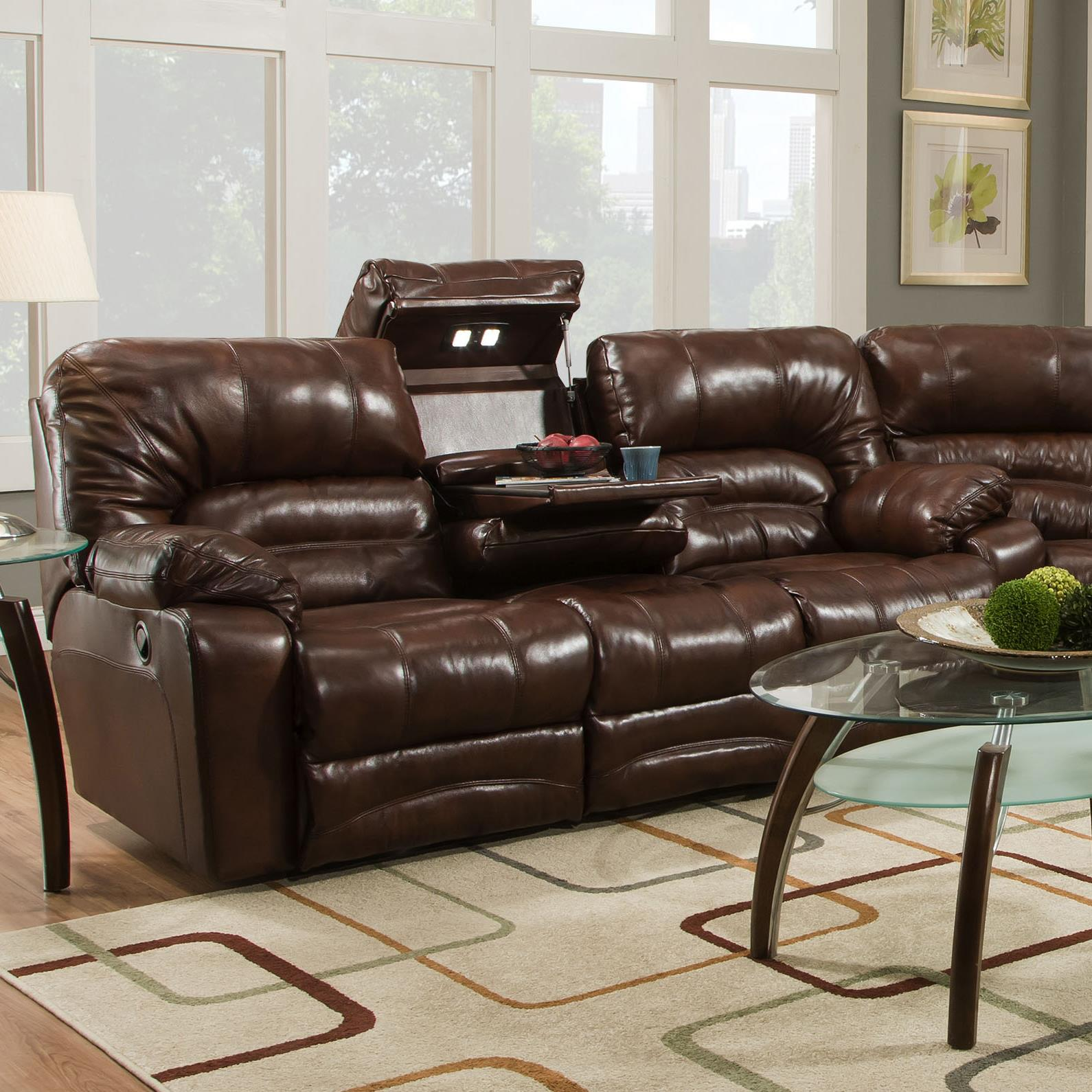 Legacy Power Reclining Sofa with Table and Lights by Franklin at Lagniappe Home Store