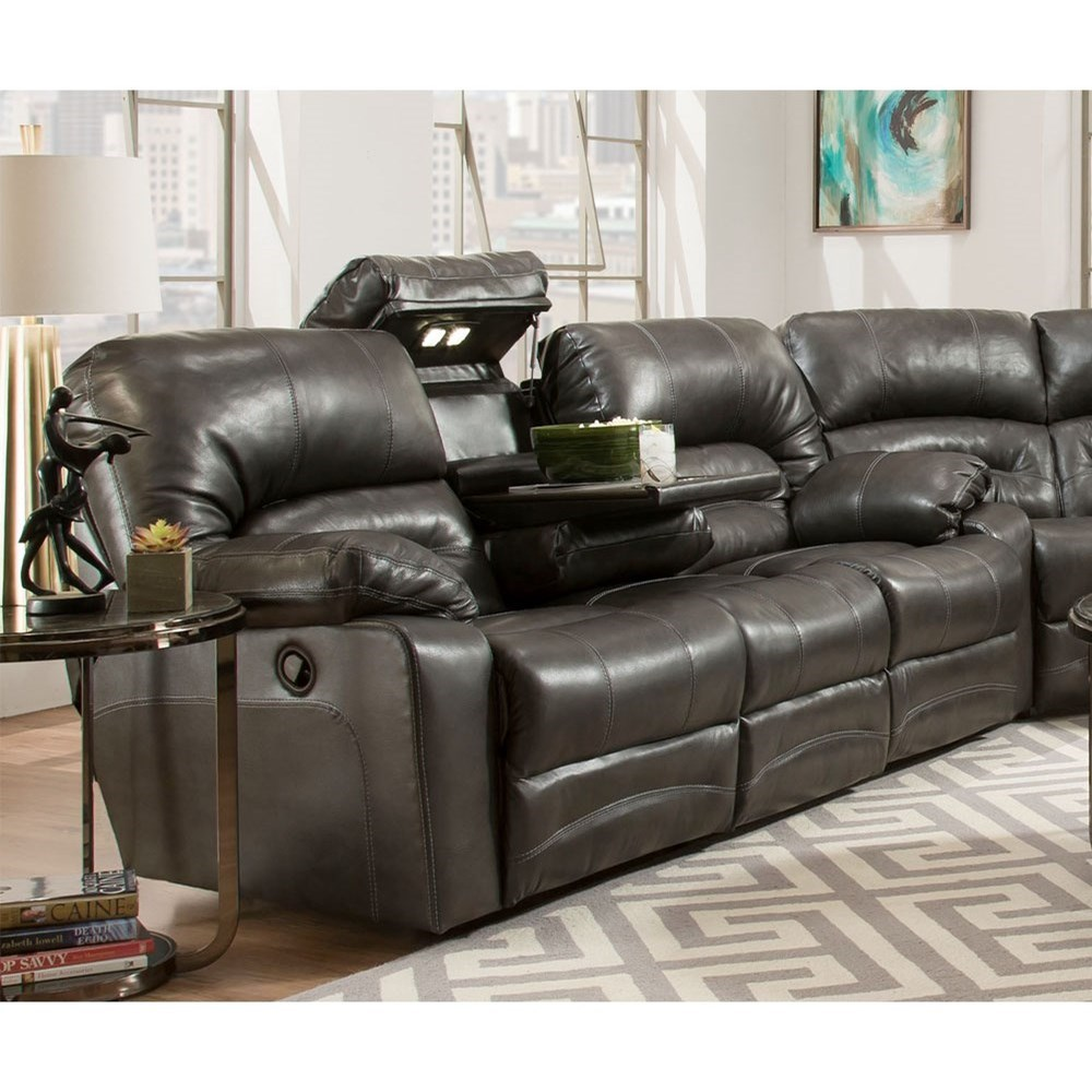 Legacy Power Reclining Sofa with Table and Lights by Franklin at Rooms for Less