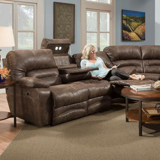 Legacy Reclining Sofa with Table and Lights by Franklin at Lagniappe Home Store