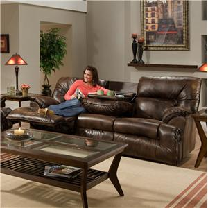 Casual Reclining Sofa with Fold Down Tray Table