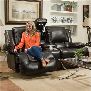 Power Reclining Loveseat with Adjustable Backrest, Lights and Arm Storage